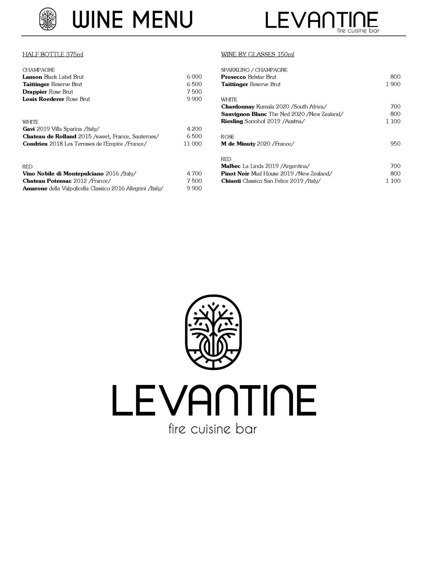 Levantine Wine Menu